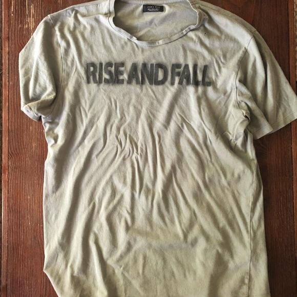 a46f3499 Zara Shirts | Mens Distressed Graphic Tee Rise And Fall | Poshmark